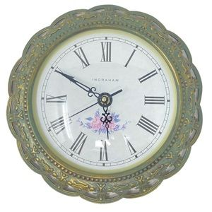 "INGRAHAM 12"" Wall Clock Antique Green Finish Roman Numeral Display."